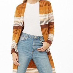 Striped Open-Front Longline Cardigan | Size: Med